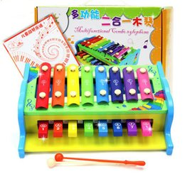 Wholesale Wooden Xylophone Baby - multifunctional xylophone wooden toy wooden xylophone musical toy baby toddle kids wisdom development music instrument piano C337 Free DHL