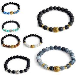 Wholesale Mixed Owl Order - Mixed Order Owl Buddha Beads Bracelets Bangles Charm Natural Stone Bracelet Yoga Jewelry Men Women Free Shipping