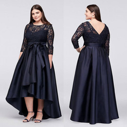 Wholesale Cheap Short Purple Dress Prom - Black Plus Size High Low Formal Dresses With Half Sleeves Sheer Jewel Neck Lace Evening Gowns A-Line Cheap Short Prom Dress