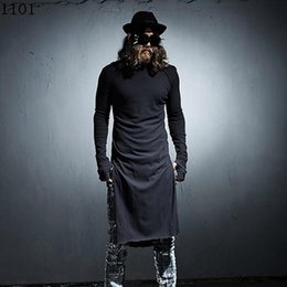 Wholesale night clothes men - Wholesale- Mens extended t shirt Long sleeve Black White Rock punk Extra long top Night club clothes