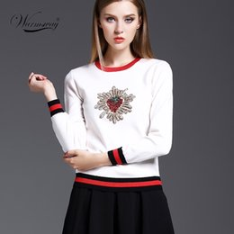 Wholesale Sweater Made Hand - Wholesale-Retro fall winter new sweater hand-made Diamonds Beading Strawberry pattern Knitted pullover WS-017