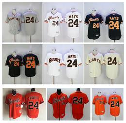 Wholesale Giant Shirts - Throwback SF San Francisco Giants Jerseys 24 Willie Mays Jersey Grey White Orange Retro Shirt Stitched Baseball Jerseys