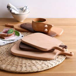 Wholesale Block Chopping Board - handmade wooden chopping block Kitchen Platter Handled cutting board bread pallet Cake plate fruit Pizza Tray Baking Tools