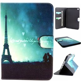 Wholesale Ipad Mini Eiffel Tower - Paris Eiffel Tower Design Pu Leather Flip Stand Folio Card Holder Pouch Cover Case For Apple iPad Mini 4 Mini4 Tablet Protective Shell