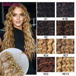 """Wholesale Curly Micro Loop Hair Extensions - Wholesale- 100strands 20""""  50cm Micro Rings Links Loops Curly Hair Extension 0.5g 50grams lot 100% Real Human Remy Hair 8 Colors Available"""