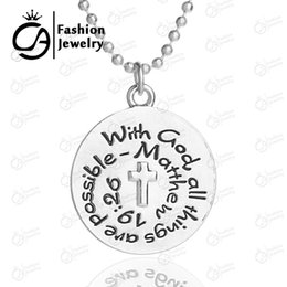 Wholesale God Things - Wholesale With god all things are possible Matthew 19:26 Silver Plated Pendant Necklace Religious Catechism Gift 20Pc Lot LN1233