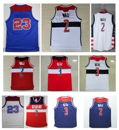 Wholesale Embroidery Sports Jerseys - Top Quality ! 2 John Wall Jersey 3 Bradley Beal Red White Dark Blue Stitched Sport Shirt Rev 30 Jerseys Embroidery Logo Throwback Jersey