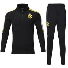 Wholesale Wholesale Soccer Suits - 2017-18 Dortmundes tracksuit Jacket Set Men Kit long sleeve Training suit pants football Borussia Aubameyang Reus clothes sports wear