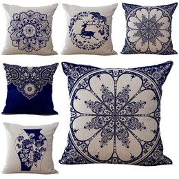 Wholesale china wholesale weave - China Blue and white porcelain Flower Pillow Case Cushion cover Linen Cotton Throw Pillowcases sofa Bed Pillow covers Drop shipping