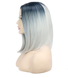 Wholesale Cosplay Grey Hair - Women Short Bob Cosplay Costume Party Wig Black To Grey Ombre 40 Cm Synthetic Hair Wigs