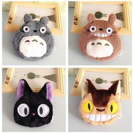 2020 lindos monederos negros Al por mayor-2017 nueva marca Mini monedero Kawaii portátil de dibujos animados Plush Totoro Bus Black Cat Wallet Cute Girls Travel Key Case bolsas para niños lindos monederos negros baratos