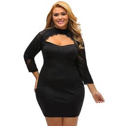 Wholesale Turtle Neck Backless Dress - vintage Hollow Out 2017 Black Sheer Lace Cutout Dress Long Sleeve backless Curvy Dress LC22889 plus size women sexy Autumn dress