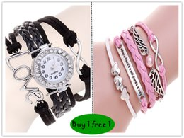 Wholesale Love Watch Wristwatches - Buy 1 gift 1 Black Paracord bracelet Wristwatches Bradided Steam punk wrap Watch bracelets love meter wax Cords energy leather men
