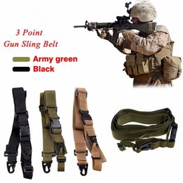 Wholesale Elastic Gun Belt - 3 Point Airsoft Hunting Belt Tactical Elastic Gear Gun Sling Strap Outdoor Camping Survival Sling Multifunctional Strap