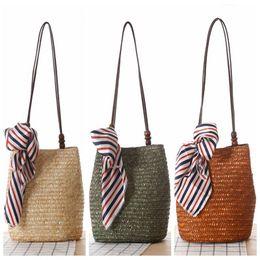Wholesale Crochet Silk Scarf - 2017 Bohemian Style Wood Beading Women Handbag Wheat Straw Woven Shoulder bag Silk Scarf Beach bag Girl Travel Messenger bag with ribbon