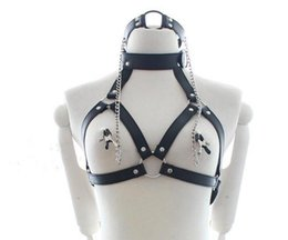 Wholesale Bondage Female Harness - Sexy Toys Fantasy Nipple Clamps Breast Clamps + Bondage Harness Leather O Ring Mouth Gag Fetish Role Play Erotic Toys For Women