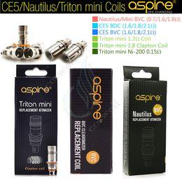 Wholesale Ce5 Atomizer Coil - 100%Genuine Aspire Nautilus BVC coil Triton mini CE5 BDC 0.7 1.6 1.8Ohm Clapton Ni200 Nautilus 2 tank Mini Replacement atomizer Coils DHL