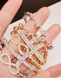 Wholesale Diamond Elastic Rings - 2017 Hot Sale 48PCS Retail Bracelets Beads Elastic LOVE Bracelets bracelet