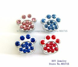 Wholesale Dog Collars Paws - can through 10mm Belt Pet Collar band slide Charms mix color Rhinestone dog paw 10pcs Internal Dia.10mm Wholesale