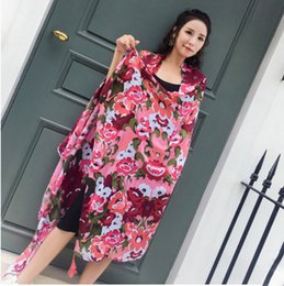 Wholesale Wholesale Ethnic Fabric Prints - Ethnic Style Sea Side Holiday Lady Summer Tourise Sunscreen Beach Towel Shawl Scarf Silk Scarves Fabric Girl