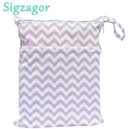 Wholesale Yellow Grey Diaper Bag - [Sigzagor]Wet Dry Bag, With Two Zippered Baby Diaper Bag, Nappy Bag, Waterproof, Reusable,Washable Grey Gray Chevron Zigzagor
