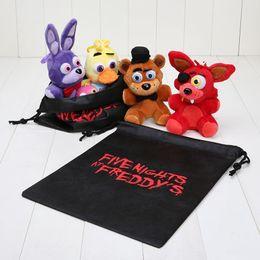Wholesale Gift Bags Bear - 4pcs set 15-18cm Five Nights at Freddy FNAF Fox Bear Bonnie Toys Plush Pendants Keychains Dolls with Gift Bag