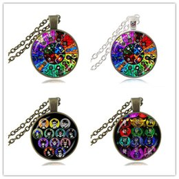 Wholesale Party Gods - Homestuck Necklace God Wheel Game Comic Pendant 12 Trolls Mspaint Adventures Zodiac Jewelry Glass Cabochon Silver Bronze Chain Choker Gifts