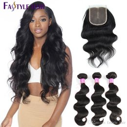 Wholesale Hot Human Body - Hot! Brazilian Body Wave 3 Extension Bundles With Swiss Lace Closure UNPROCESSED Peruvian Malaysian Indian Virgin Human Hair Wefts Dyeable