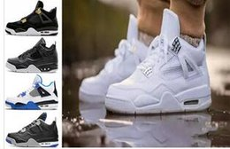 Wholesale E Pure - 2017 air Retro 4 Basketball Shoes men retro 4s Pure Money Royalty White Cement Premium Black Bred Fire Red Sports Sneakers size 8-13