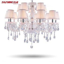 Wholesale Fluorescent Kitchen Ceiling Light Fixtures - Modern LED White Crystal Chandelier Lights Lamp For Living Room Light Ceiling Fixture Indoor Pendant Lamp Home Decorative
