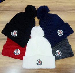 Wholesale Christmas Ski Hat - Famous tide brand MON beanies hight quality men winter beanie men hat casual knitted sports cap ski gorro embroidered hats
