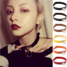Wholesale locking metal collars - 13 Colors Metal Love Lock Ring Charm Choker Collar Necklace Women Choker Necklaces Bracelets Statement Maxi Jewelry 161827