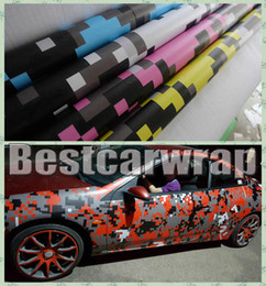 Wholesale Camo Vinyl Wrap Roll - VARIOUS Colors Pixel Camo Vinyl Car Wrap Film With Air releas Digital Camouflage Truck wraps covering styling Foil size 1.52x30m Roll 5x98ft