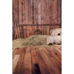 Wholesale Digital Photo Wall - Vintage Brown Wood Floor Wall Rustic Backdrop Straw Barn Digital Backgrounds for Photo Child Kids Photography Backdrops
