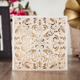 Wholesale Square Invitation Buckles - WISHMADE 2017 New Wedding Invitation Design Laser Cut Cards Square Lace Engagement Marriage Anniversary Cardstock CW6109