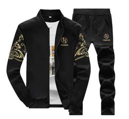 Wholesale Cardigan Sweaters Short Men - New Men's sportswear suit and sweater suit pants suit coat gym running male baseball