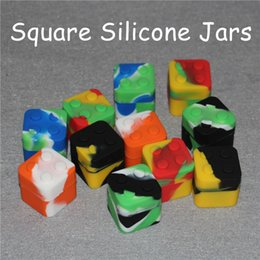 Wholesale Rubber Slicker - Slick stack lego shaped 11ml silicone square bho oil container silicon dab wax storage jar for concentrates, wax and BHO