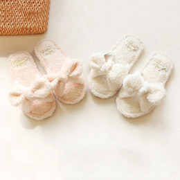 Wholesale Warm Fluffy Slippers - Cute Women Girls Kawaii Shoes Fluffy Soft Plush Warm Home Slippers Bowtie Indoor Free Shipping