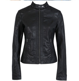 Wholesale Button Clean - Wholesale-2017 Fashion New Women's Jacket European Fashion Leather Jacket Pimkie Cleaning Single PU Leather Motorcycle Temale Women's Leat
