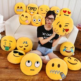 Wholesale Pillow Emoticon - 35cm Cute Emoji Pillow Decorative Pillows Smiley Face Pillow Emoticon Cushion Stuffed Plush Toy Doll Home Sofa Bed Throw Pillow