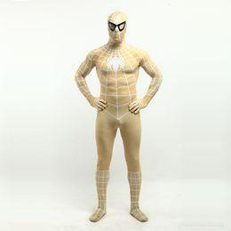 Wholesale Spandex Zentai Superman - 2017 Sexy Yellow Lycra Spandex Spiderman Zentai Suit Anime exhibition Superhero Superman Cosplay Costumes For Halloween