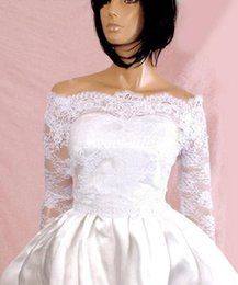 Wholesale Off Shoulder Beige - 2017 Spring Fall New Lace Bridal Jackets Off-shoulder Long Sleeve Covered Button Lace Applique Vintage Wedding Wraps Bolero Custom Made