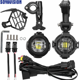 Wholesale Motorcycle Led Headlight Kits - LED Auxiliary Fog Light + Protect Guard + Wiring Harness For BMW R1200 GS  ADV Motorcycle Front headlight Fog Lamp LED Running light