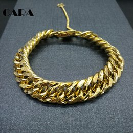 Wholesale Wide Gold Plated Mens Bracelet - CARA Fashion New Link Chain Gold color Copper Brass Bracelet Men Heavy 8'' 13MM Wide Mens Bracelets 2017 Bicycle Chain CAGF0240