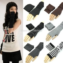 Wholesale Korean Wool Gloves - Wholesale- 1pair Korean Version The Elbow Exposed Long GlovesFashion Women Knitted Fingerless Winter Warm Gloves Long Mitten Female