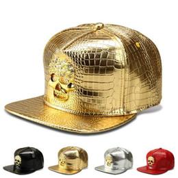 Chapeau ajusté d'or en Ligne-Chapeaux ajustés Cool Snapback Chapeaux D'or Hiphop Baseball Chapeaux Hommes Sport Réglable Américain PU DJ Danse De Rue Or Crâne Snapback Chapeau