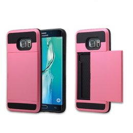 Wholesale Iphone Case Slide Card - Dual Layer Card Slide Case Armor Hybrid Commuter Case Cover With OPP Bag For iPhone 6 7 Plus 5S For Samsung S7 edge S8 Plus Huawei P8 Mate7