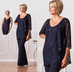 Wholesale Champagne Lace Blouse - 2017 New Vintage Navy Blue Formal Mother Of Bride Groom Pant Blouse Suits with Jacket Crew Long Sleevs Plus Size Evening Dresses