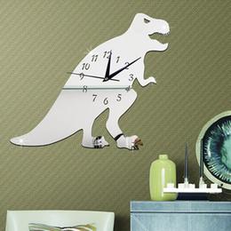 Wholesale Dinosaur Stickers - Dinosaur Mirrored Clock Stickers Acrylic Wall Clocks Animal T-Rex Dinosaurs 3d Dragon Mirror for Boys Cartoon Wall Clock