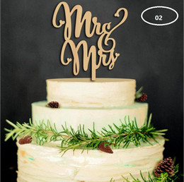Wholesale Cakes Toppers Wholesale - The wood material wedding cake inserted card Wedding cake inserted personalized wedding decoration wood plug WT047
